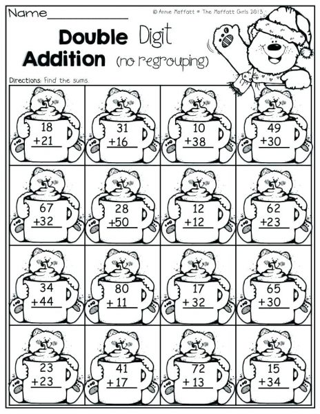 TWO DIGIT ADDITION COLORING WORSHEETS
