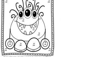 double digit subtraction coloring worksheets