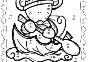 Free Subtraction Coloring Worksheets for Second Grade 4