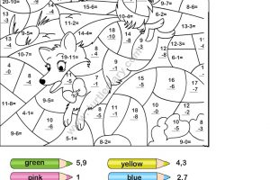 Subtraction and Coloring Worksheets 7