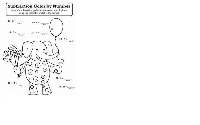 Subtraction Coloring Worksheets 1st Grade