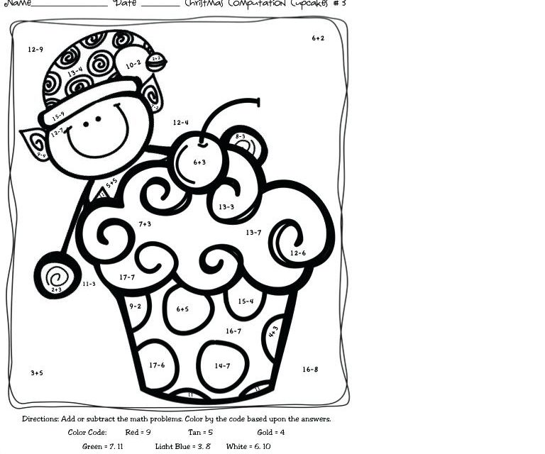 subtraction coloring worksheets 3rd grade - Worksheet School
