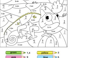 Subtraction Coloring Worksheets for First Grade 8