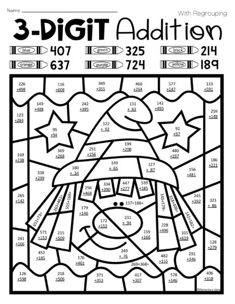 Three Digit Addition Coloring Worksheets 1