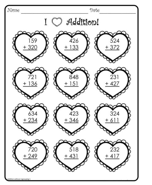 valentine addition coloring worksheets 1