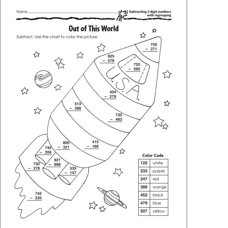 2 digit subtraction without regrouping coloring worksheets 1