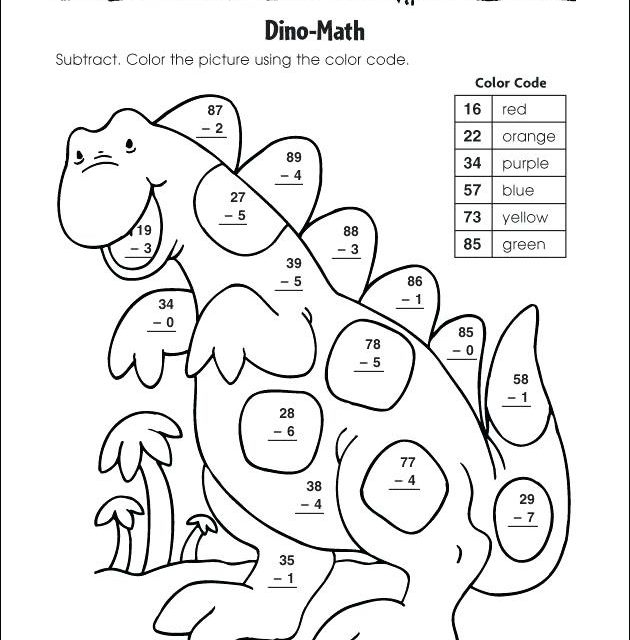 free printable subtraction coloring worksheets