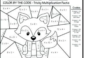 multiplication coloring worksheets pdf