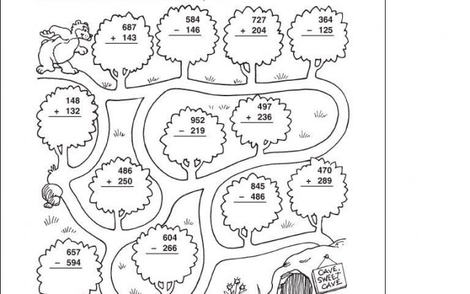 subtraction without regrouping coloring worksheets