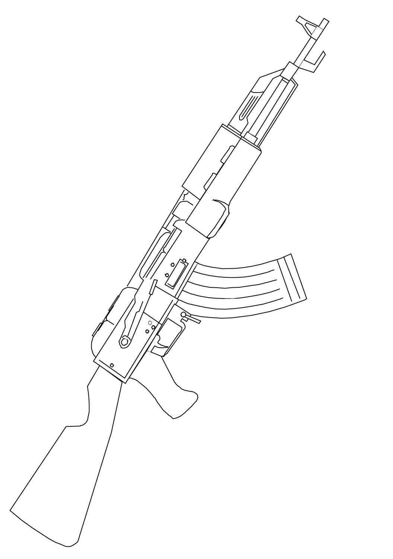 ak 47 assault rifle coloring pages