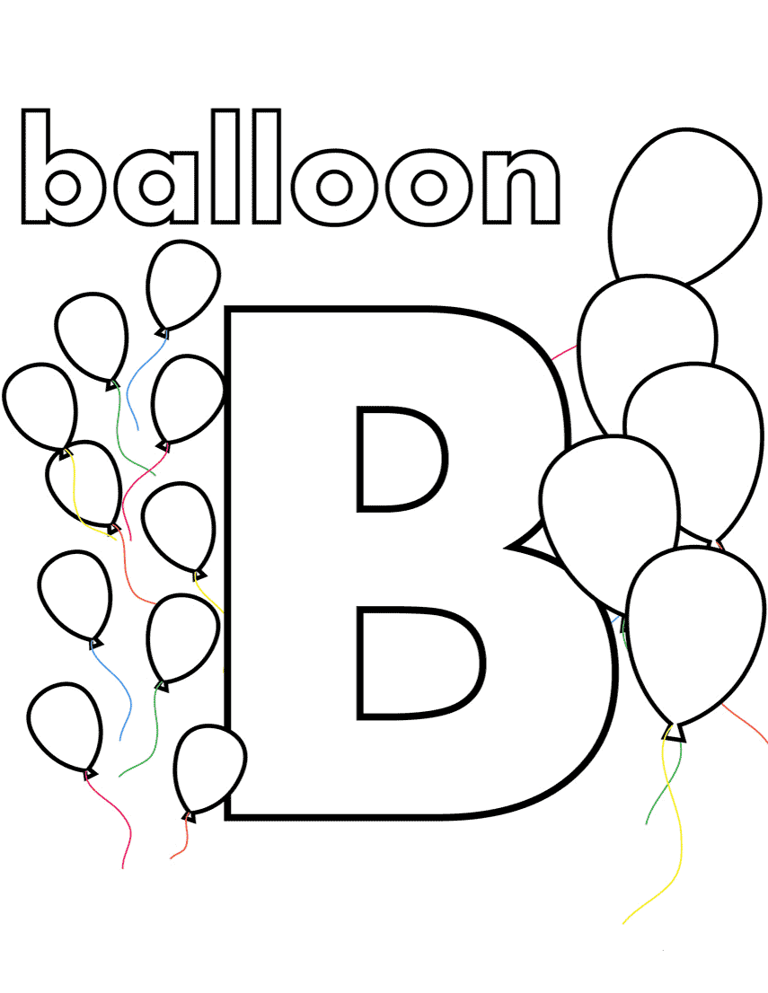 b is for balloon coloring pages