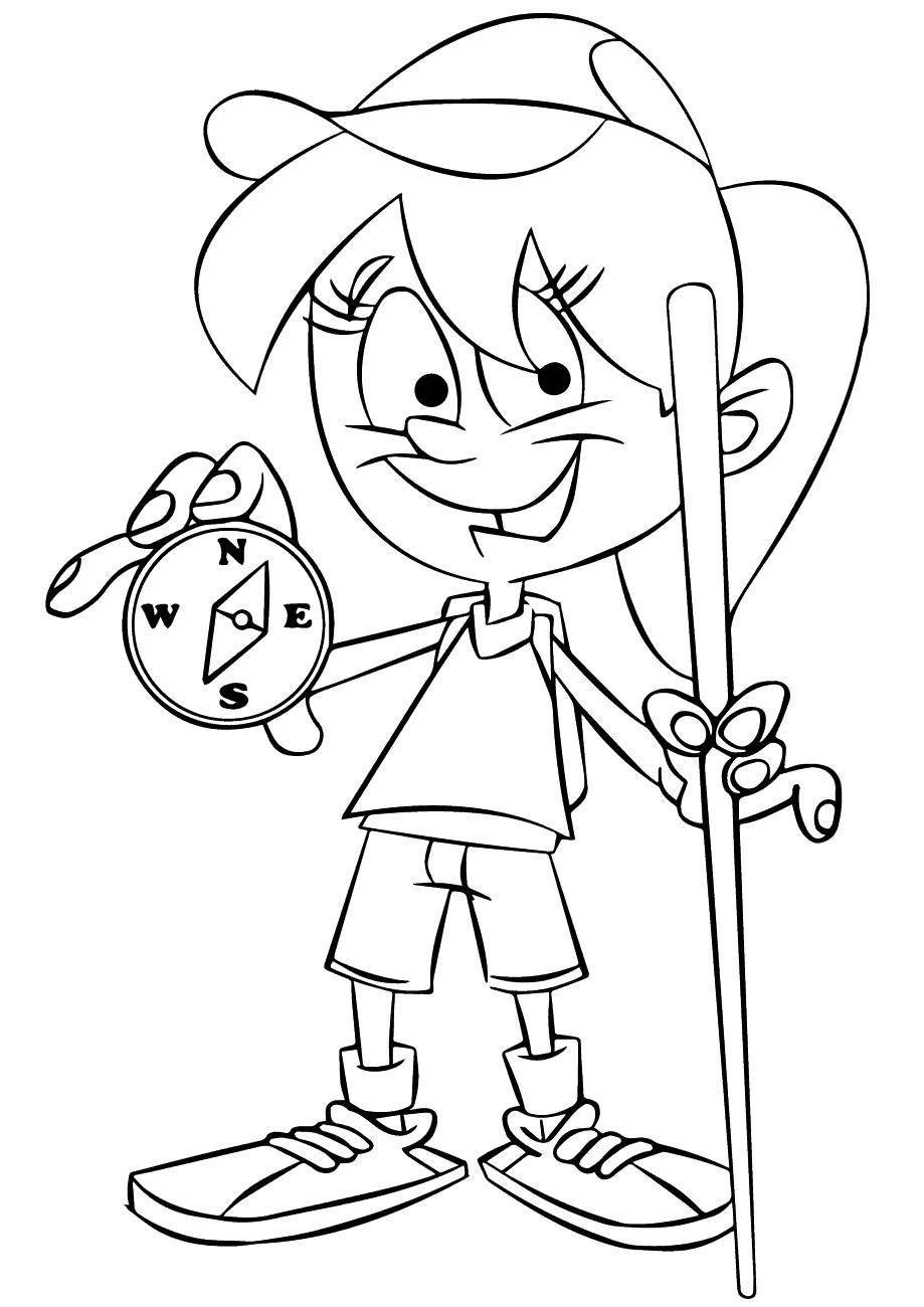 girl holding a compass coloring pages