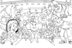 sing movie characters coloring pages