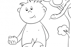adam with apple coloring pages
