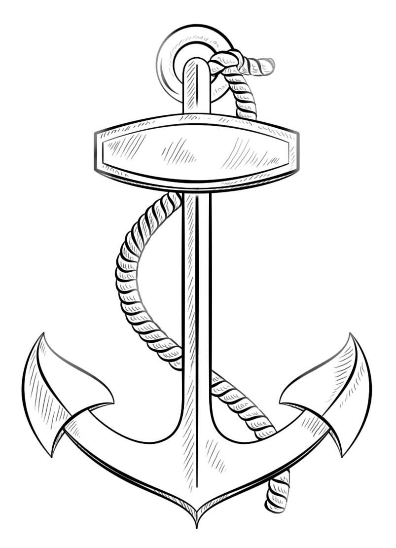 anchor with rope coloring pages