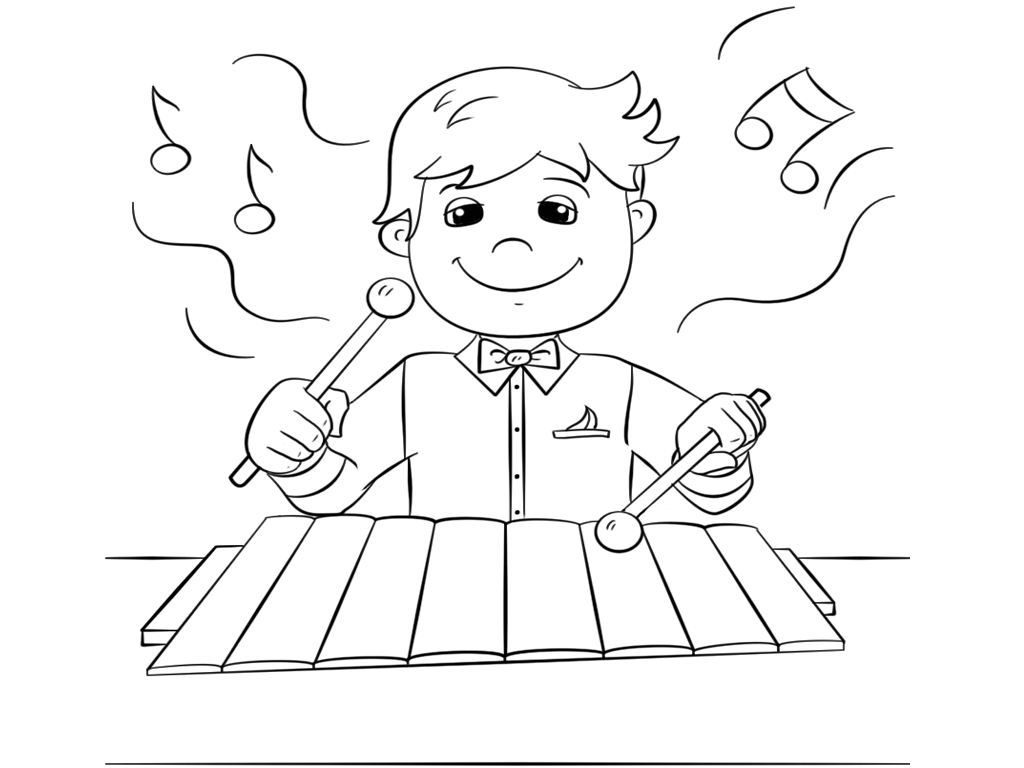 boy playing xylophone coloring pages