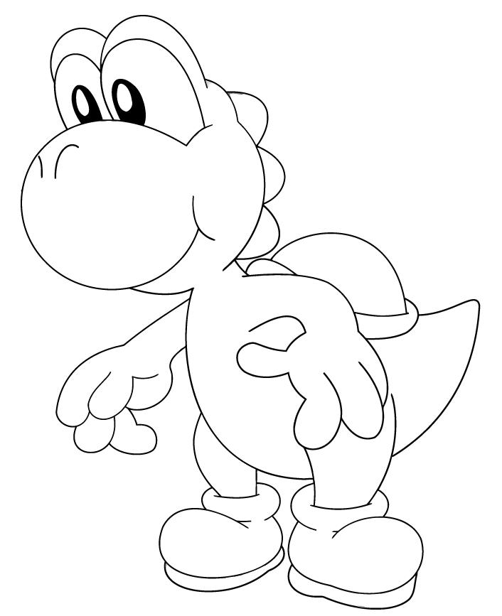 cartoon free yoshi coloring pages