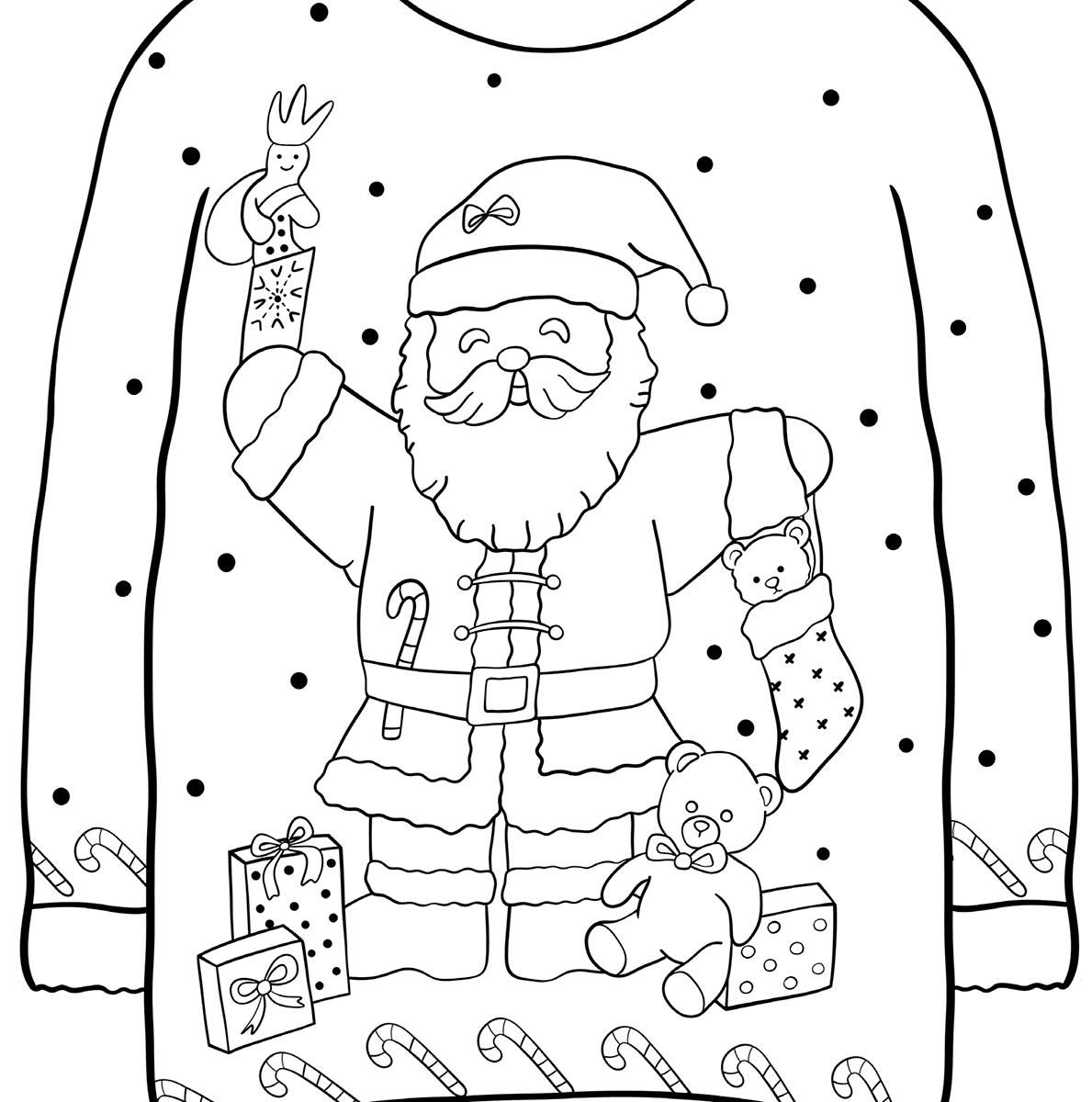 christmas free sweater with santa coloring pages