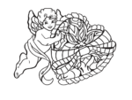 cupid with heart coloring pages