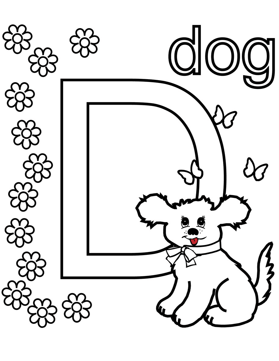 d is for dog coloring pages
