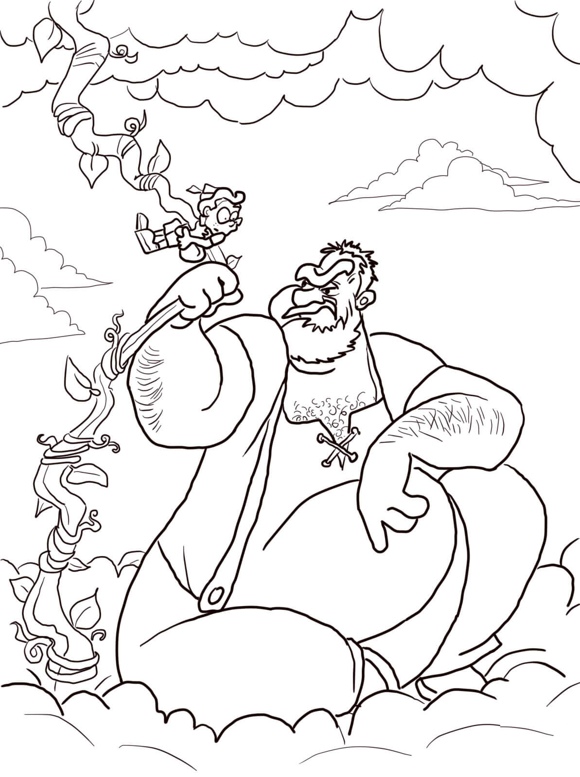 jack and the beanstalk giant coloring pages