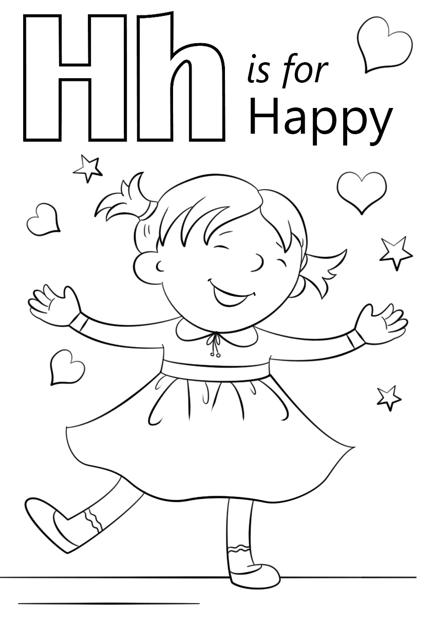 letter h is for happy coloring pages