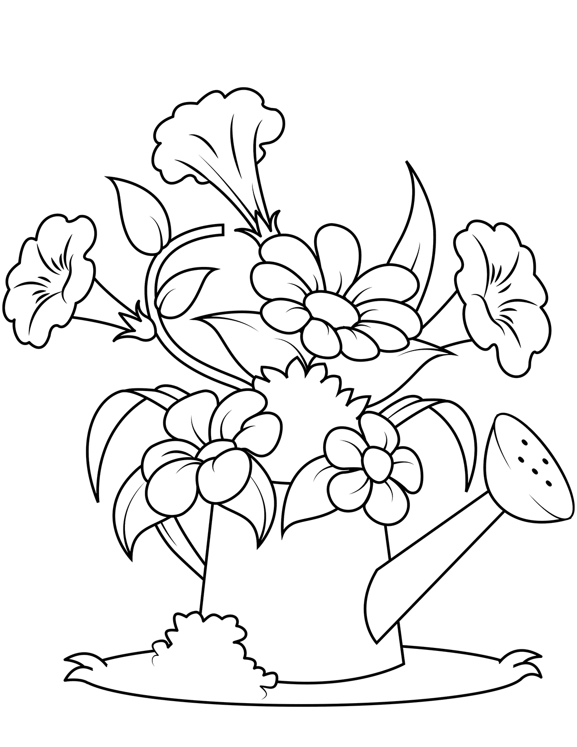 watering can with flowers coloring pages
