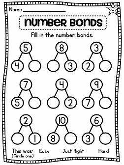 Number Bond Worksheets 2