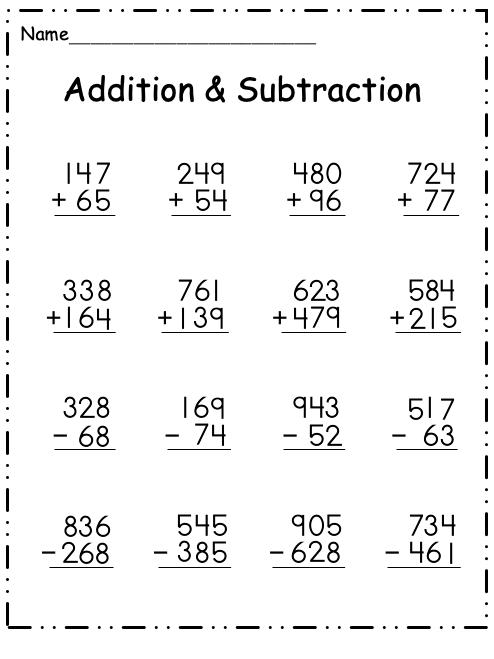 3 - Digit Subtraction | Worksheet School