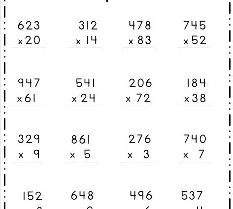 Multiplication - 3 Digit by 1 Digit 2