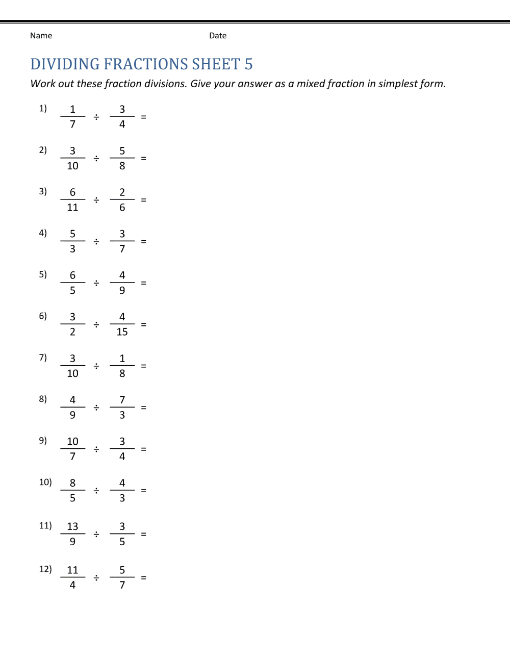 Division Using Fraction | Worksheet School