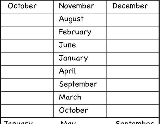 Months of the Year Worksheets 2